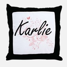 Karlie Artistic Name Design with Butt Throw Pillow