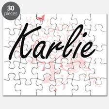 Karlie Artistic Name Design with Butterflie Puzzle
