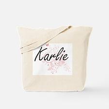 Karlie Artistic Name Design with Butterfl Tote Bag