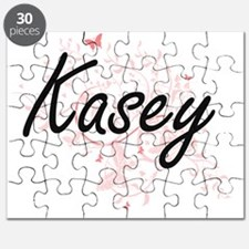 Kasey Artistic Name Design with Butterflies Puzzle