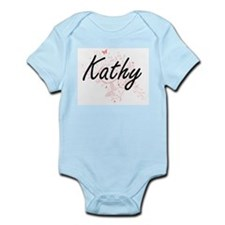 Kathy Artistic Name Design with Butterfl Body Suit