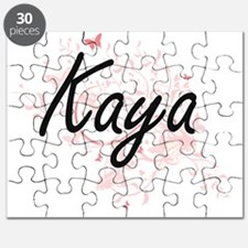 Kaya Artistic Name Design with Butterflies Puzzle