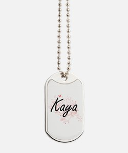 Kaya Artistic Name Design with Butterflie Dog Tags