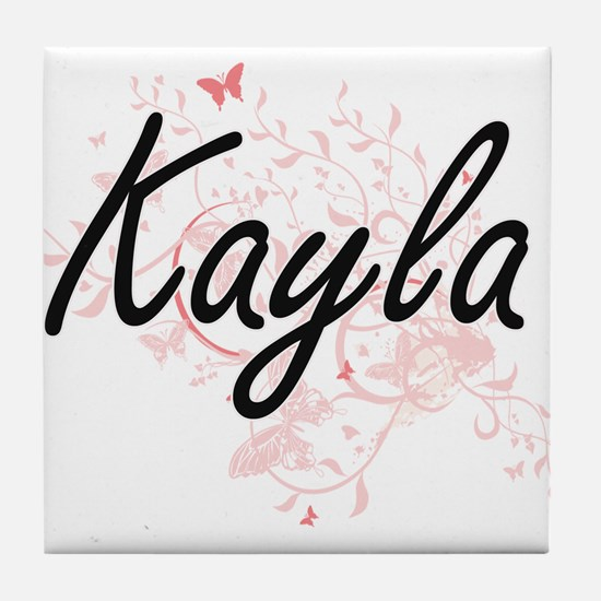 Kayla Artistic Name Design with Butte Tile Coaster