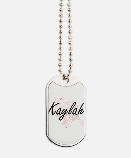Kaylah Artistic Name Design with Butterfl Dog Tags