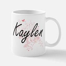 Kaylen Artistic Name Design with Butterflies Mugs