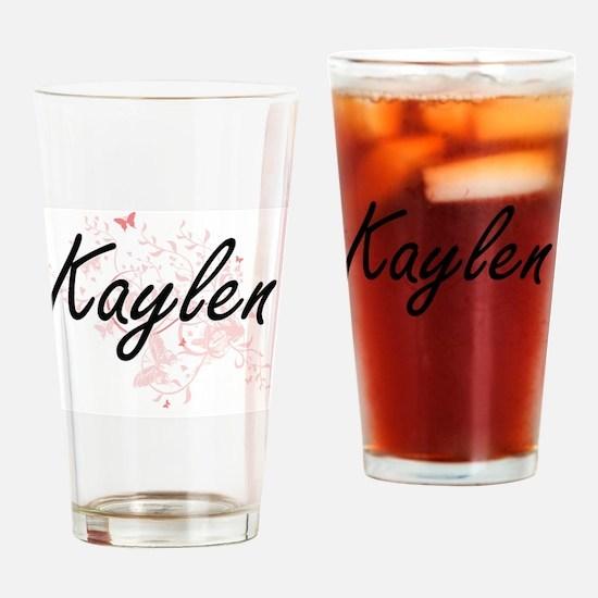 Kaylen Artistic Name Design with Bu Drinking Glass