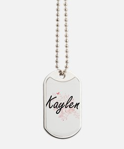 Kaylen Artistic Name Design with Butterfl Dog Tags