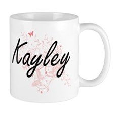 Kayley Artistic Name Design with Butterflies Mugs