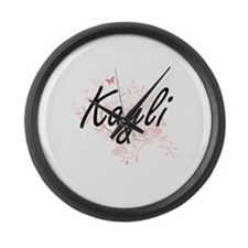 Kayli Artistic Name Design with B Large Wall Clock