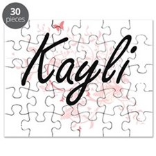 Kayli Artistic Name Design with Butterflies Puzzle