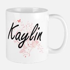 Kaylin Artistic Name Design with Butterflies Mugs