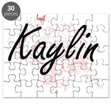 Kaylin Artistic Name Design with Butterflie Puzzle