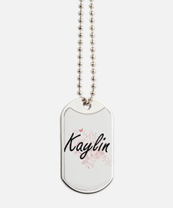 Kaylin Artistic Name Design with Butterfl Dog Tags