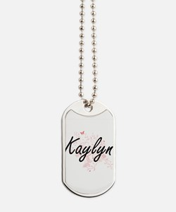 Kaylyn Artistic Name Design with Butterfl Dog Tags