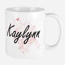 Kaylynn Artistic Name Design with Butterflies Mugs