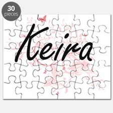 Keira Artistic Name Design with Butterflies Puzzle