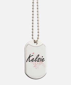 Kelsie Artistic Name Design with Butterfl Dog Tags