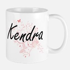 Kendra Artistic Name Design with Butterflies Mugs