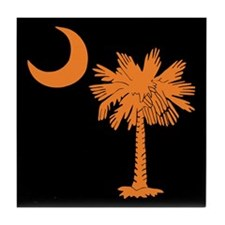 Orange and Black South Carolina Flag Tile Coaster