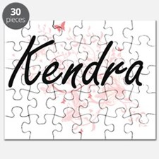 Kendra Artistic Name Design with Butterflie Puzzle