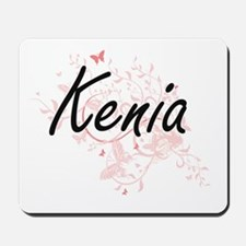 Kenia Artistic Name Design with Butterfl Mousepad