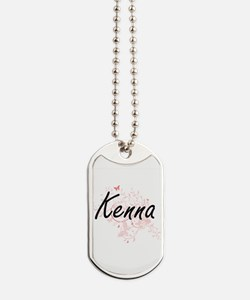 Kenna Artistic Name Design with Butterfli Dog Tags