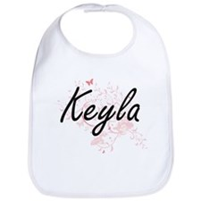 Keyla Artistic Name Design with Butterflies Bib
