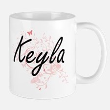 Keyla Artistic Name Design with Butterflies Mugs