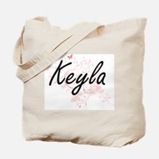 Keyla Artistic Name Design with Butterfli Tote Bag