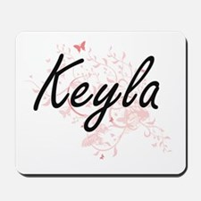 Keyla Artistic Name Design with Butterfl Mousepad