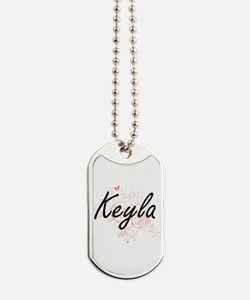 Keyla Artistic Name Design with Butterfli Dog Tags