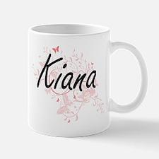 Kiana Artistic Name Design with Butterflies Mugs