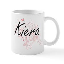 Kiera Artistic Name Design with Butterflies Mugs