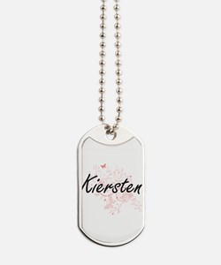 Kiersten Artistic Name Design with Butter Dog Tags