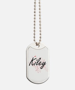Kiley Artistic Name Design with Butterfli Dog Tags