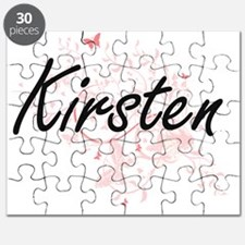Kirsten Artistic Name Design with Butterfli Puzzle