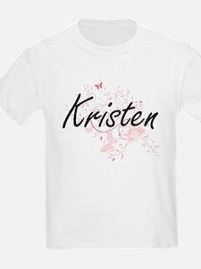 Kristen Artistic Name Design with Butterfl T-Shirt