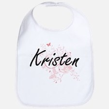 Kristen Artistic Name Design with Butterflies Bib