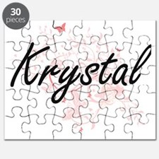 Krystal Artistic Name Design with Butterfli Puzzle