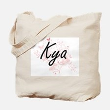 Kya Artistic Name Design with Butterflies Tote Bag