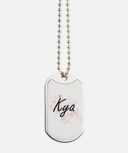 Kya Artistic Name Design with Butterflies Dog Tags