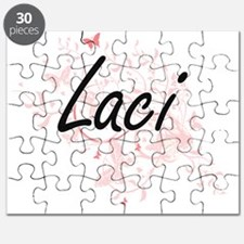 Laci Artistic Name Design with Butterflies Puzzle