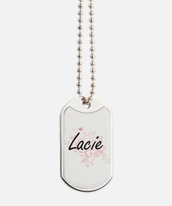 Lacie Artistic Name Design with Butterfli Dog Tags