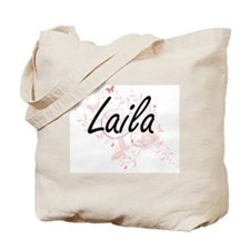 Laila Artistic Name Design with Butterfli Tote Bag