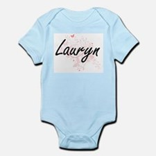 Lauryn Artistic Name Design with Butterf Body Suit