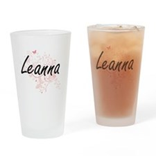 Leanna Artistic Name Design with Bu Drinking Glass