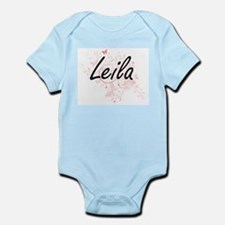 Leila Artistic Name Design with Butterfl Body Suit