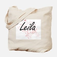 Leila Artistic Name Design with Butterfli Tote Bag