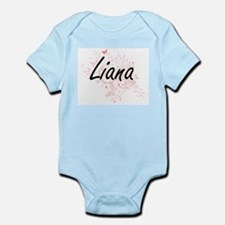 Liana Artistic Name Design with Butterfl Body Suit